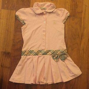 Peachy pink Burberry girls knit dress